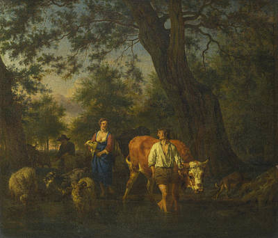 Adriaen Van De Velde Painting - Peasants With Cattle Fording A Stream by Adriaen van de Velde