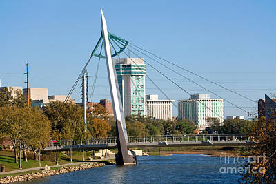 Blackbear Bosin Photograph - Pedestrian Bridge Over Arkansas River In Wichita by Bill Cobb