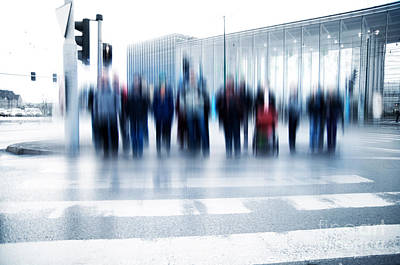 Action Photograph - Pedestrian Crossing Rush. by Michal Bednarek