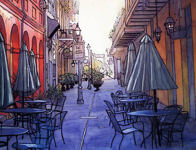 Garden Scene Drawing - Pedestrian Mall  212 by John Boles
