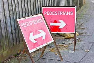 Safeguard Photograph - Pedestrian Signs by Tom Gowanlock
