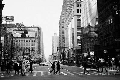 Pedestrians Crossing Crosswalk On West 34th Street And Sixth 6th Avenue At Herald Square New York Print by Joe Fox