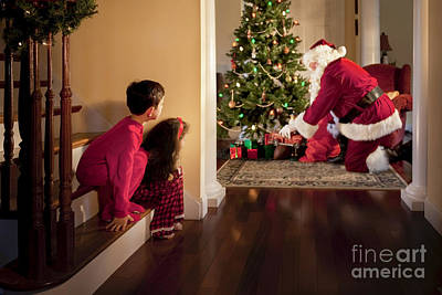 Peeking At Santa Print by Diane Diederich