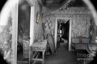 Peeking In The Old Mortuary Print by Cheryl Young