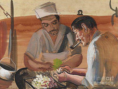 Slavic Painting - Peeling Potatoes by Celestial Images