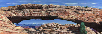 Sage Brush Painting - Peeping Through The Arch by Timithy L Gordon