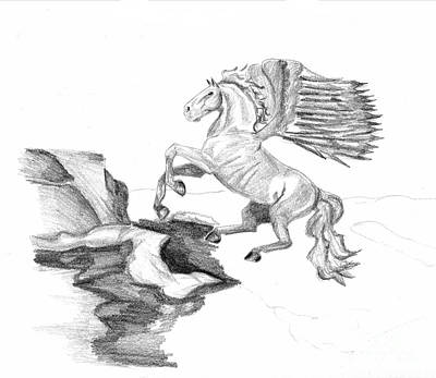 Pegasus Drawing - Pegasus 01 by J M Lister