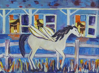 Pegasus At Race Track Original by Betty Pieper