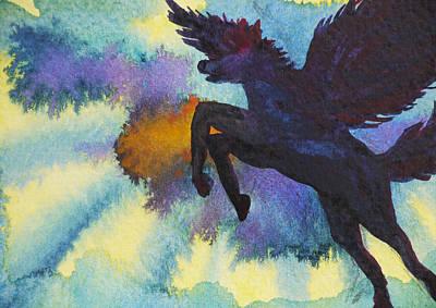 Greek Icon Painting - Pegasus by Benjavisa Ruangvaree