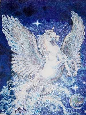 Pegasus Drawing - Pegasus Unicorn by Sheila Tibbs
