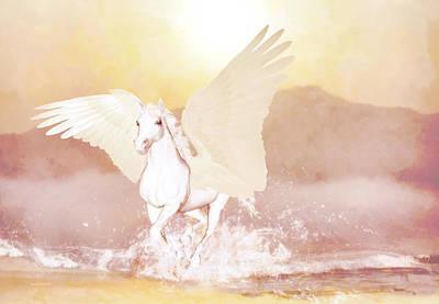 Fantasy Digital Art - Pegasus by Valerie Anne Kelly
