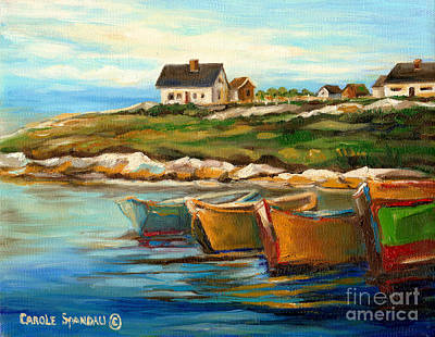 Peggys Cove With Fishing Boats Print by Carole Spandau