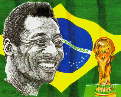 Soccer Drawing - Pele by Cory Still