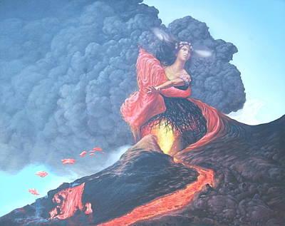 Pele Painting - Pele Hawaiian Goddess Of Volcanoes by Tom Hooper