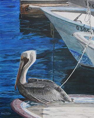 Pelican On A Boat Print by Ian Donley