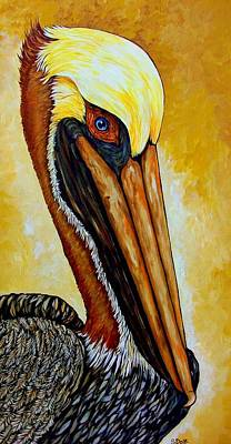 Sea Birds Painting - Pelican by Sherry Dole
