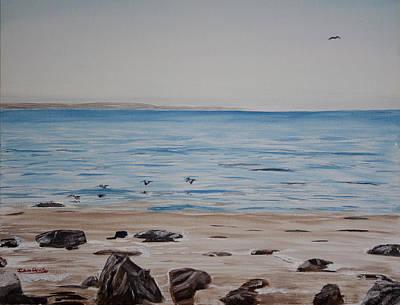 El Capitan Painting - Pelicans At El Capitan by Ian Donley