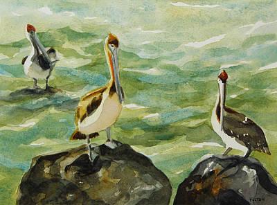 Painting - Pelicans By Julianne Felton 9-30-13 by Julianne Felton