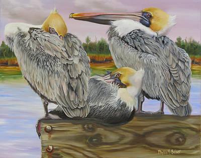 Pelicans Flocking Around Print by Phyllis Beiser