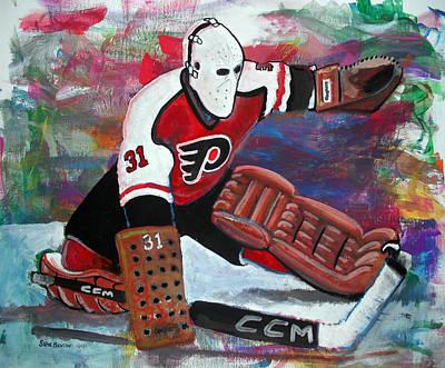 Hockey Painting - Pelle Lindbergh by Steve Benton