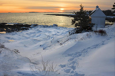 Pemaquid Point Winter Sunset On The Maine Coast Print by Keith Webber Jr