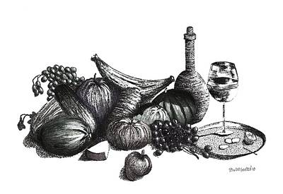Ink On Paper Drawing - Pen And Ink Drawing Of Still Life In Black And White by Mario Perez
