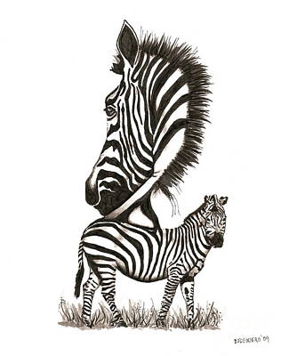 Ink Drawing - Pen And Ink Drawing Of Zebra In Black And White by Mario Perez