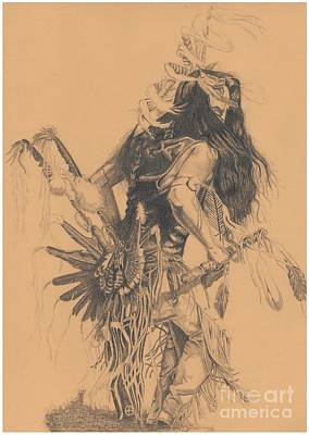 Indian Dance Drawing - Pencil Drawing Of Dancing Indian by Remigiusz Nikiel
