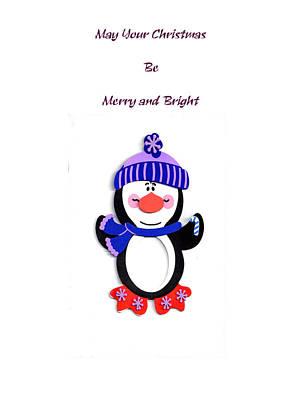 Penquins Digital Art - Penguin Christmas by Judy Hall-Folde