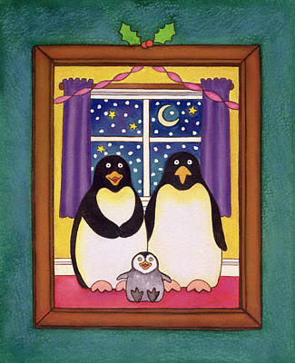 Penguin Drawing - Penguin Family Christmas by Cathy Baxter