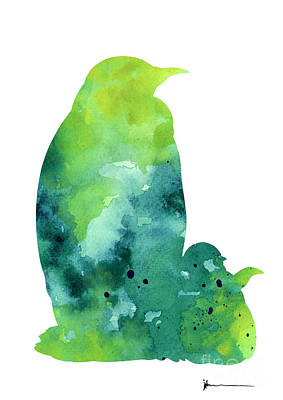 Penguin Mixed Media - Penguin Silhouette Painting Watercolor Art Print by Joanna Szmerdt