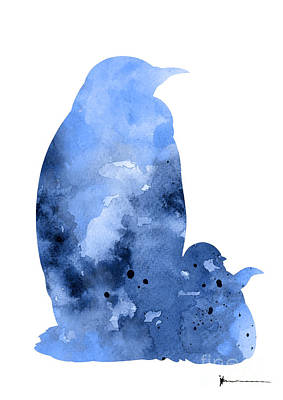Penguin Mixed Media - Penguins Silhouette Art Print Watercolor Painting by Joanna Szmerdt