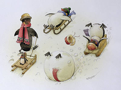 Falling Drawing - Penguins Sledging by Kestutis Kasparavicius