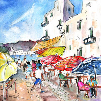 Old Street Drawing - Peniscola Old Town 01 by Miki De Goodaboom