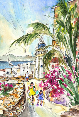 Old Street Drawing - Peniscola Old Town 05 by Miki De Goodaboom