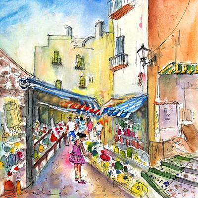 Old Street Drawing - Peniscola Shops by Miki De Goodaboom