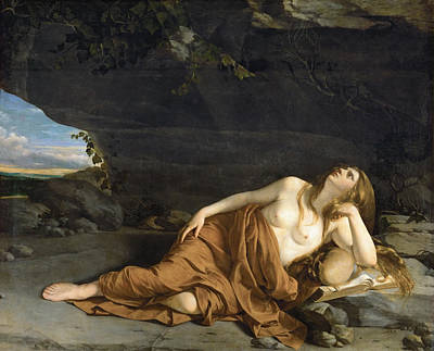 Mary Magdalene Painting - Penitent Mary Magdalene by Orazio Gentileschi