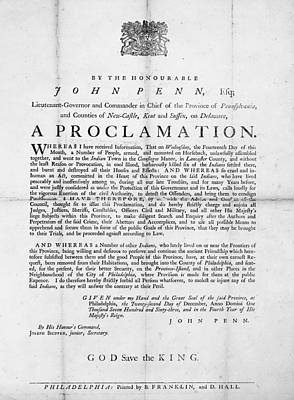 Proclamation Painting - Penn Broadside, 1763 by Granger