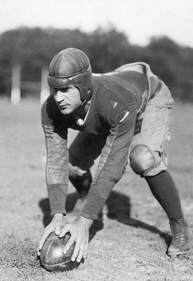 Crouched Photograph - Penn Sate Football Captain by Underwood Archives