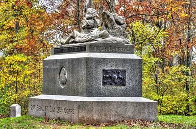 Pennsylvania At Gettysburg - 116th Pa Volunteer Infantry Irish Brigade Sickles Avenue Autumn Print by Michael Mazaika