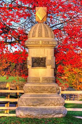 Pennsylvania At Gettysburg - 63rd Pa Volunteer Infantry - Sunrise Autumn Steinwehr Avenue Print by Michael Mazaika