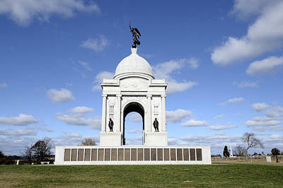 Civil War Battle Site Photograph - Pennsylvania Memorial At Gettysburg Battlefield by Brendan Reals