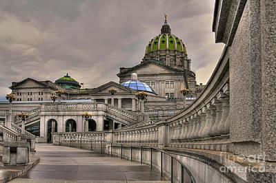 Walkway Digital Art - Pennsylvania State Capital - Textured by Lois Bryan