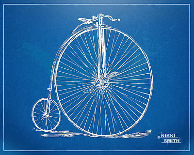 Drawing - Penny-farthing 1867 High Wheeler Bicycle Blueprint by Nikki Marie Smith
