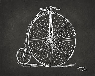 Drawing - Penny-farthing 1867 High Wheeler Bicycle Patent - Gray by Nikki Marie Smith