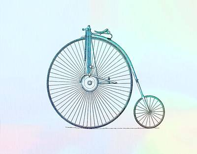 Bicycle Mixed Media - Penny-farthing Bicycle Color by Dan Sproul