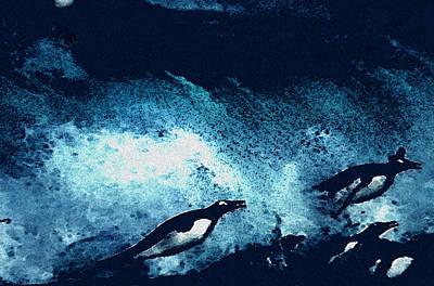 Penquins Painting - Penquin Jump by Colette V Hera  Guggenheim
