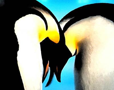 Penquins Painting - Penquin Love Dance by Colette V Hera  Guggenheim