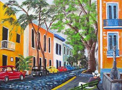 Pensando En El Viejo San Juan Print by Luis F Rodriguez
