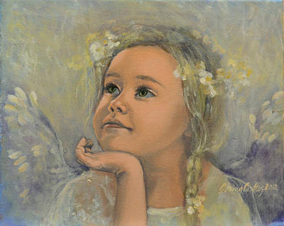 Dreams Painting - Pensive - Angel 22 by Dorina  Costras